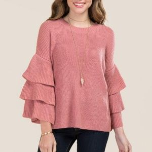 NWT Francesca's Irit Tiered Ruffle Sleeve Pullover